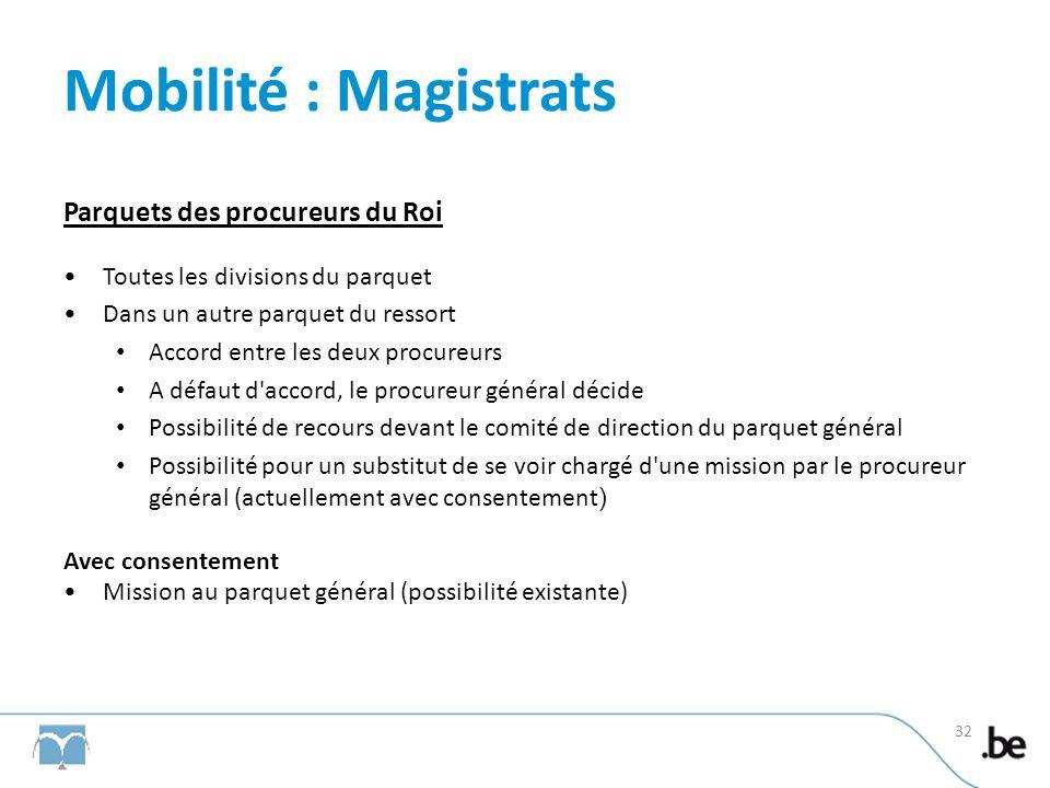 Mobilité : Magistrats Parquets des procureurs du Roi Toutes les divisions du parquet Dans un autre parquet du ressort Accord entre les deux procureurs