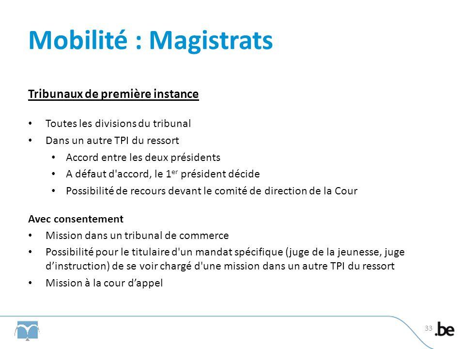 Mobilité : Magistrats Tribunaux de première instance Toutes les divisions du tribunal Dans un autre TPI du ressort Accord entre les deux présidents A