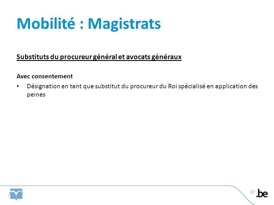 Mobilité : Magistrats Substituts du procureur général et avocats généraux Avec consentement Désignation en tant que substitut du procureur du Roi spécialisé en application des peines 37