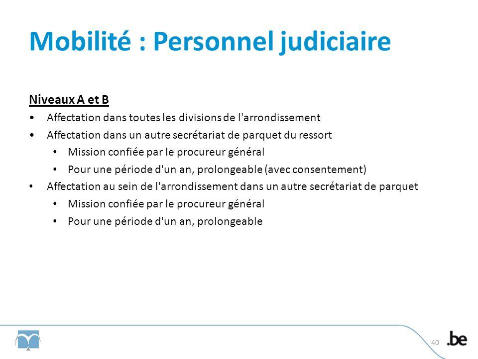 Mobilité : Personnel judiciaire Niveaux A et B Affectation dans toutes les divisions de l'arrondissement Affectation dans un autre secrétariat de parq