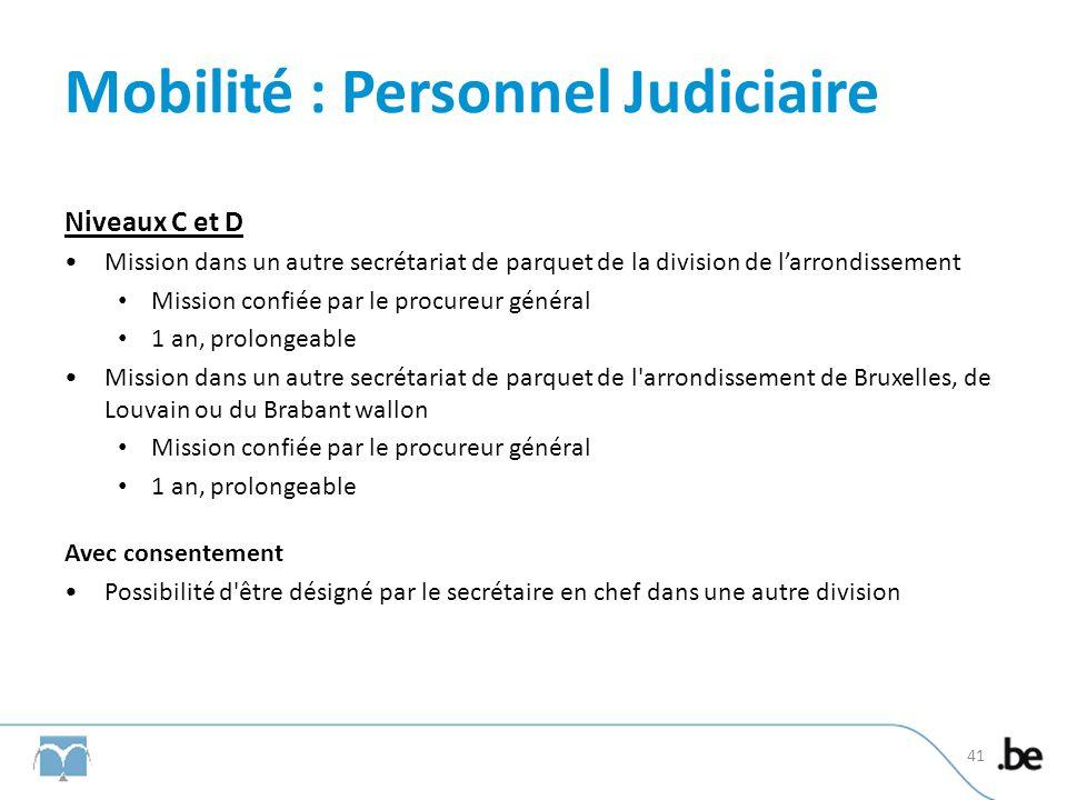 Mobilité : Personnel Judiciaire Niveaux C et D Mission dans un autre secrétariat de parquet de la division de larrondissement Mission confiée par le p