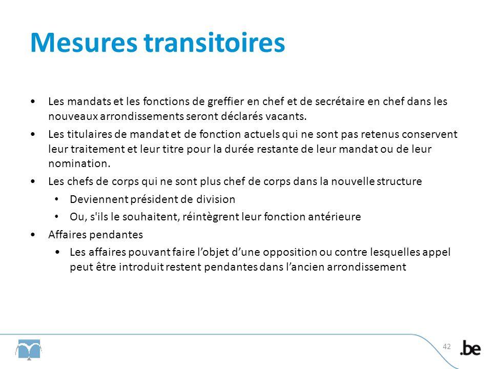 Mesures transitoires Les mandats et les fonctions de greffier en chef et de secrétaire en chef dans les nouveaux arrondissements seront déclarés vacants.