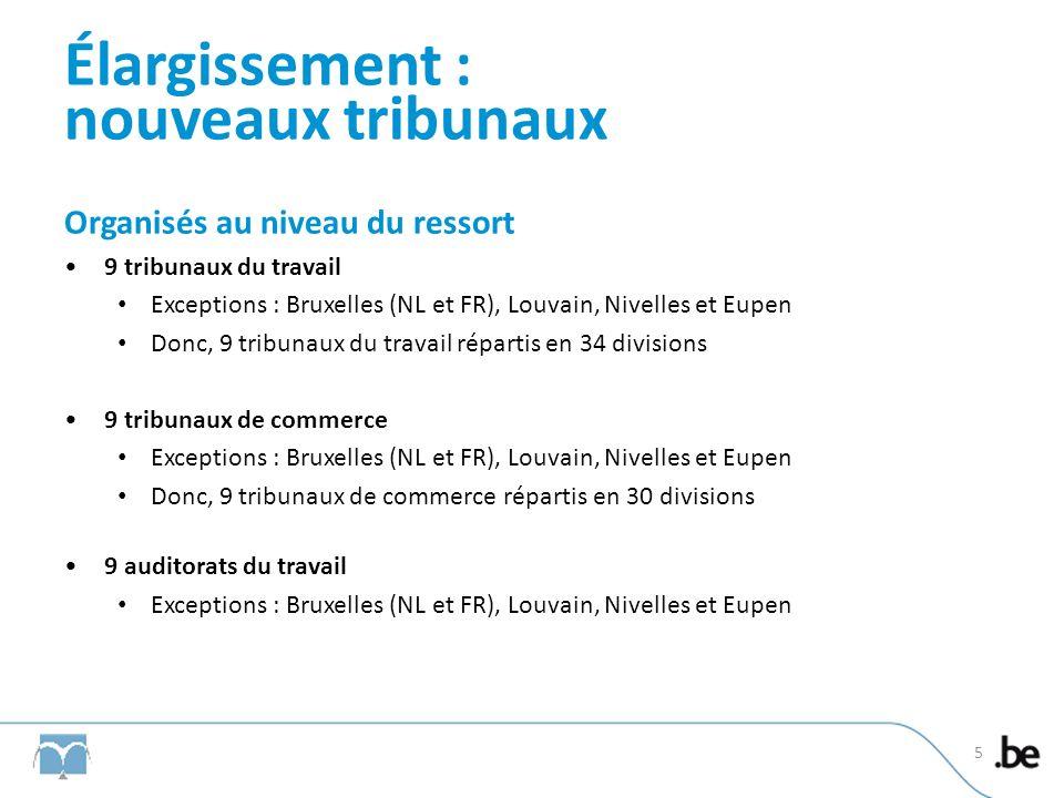 Élargissement : nouveaux tribunaux Organisés au niveau du ressort 9 tribunaux du travail Exceptions : Bruxelles (NL et FR), Louvain, Nivelles et Eupen