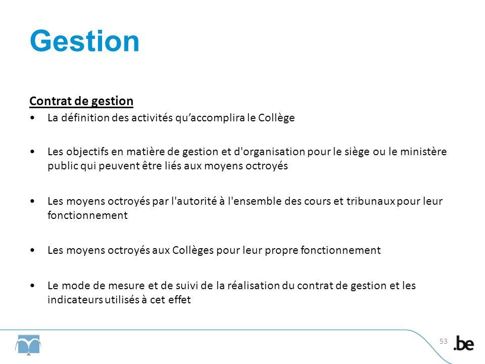 Gestion Contrat de gestion La définition des activités quaccomplira le Collège Les objectifs en matière de gestion et d'organisation pour le siège ou