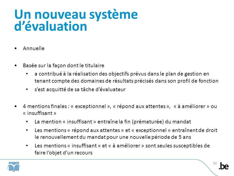 Un nouveau système dévaluation Annuelle Basée sur la façon dont le titulaire a contribué à la réalisation des objectifs prévus dans le plan de gestion