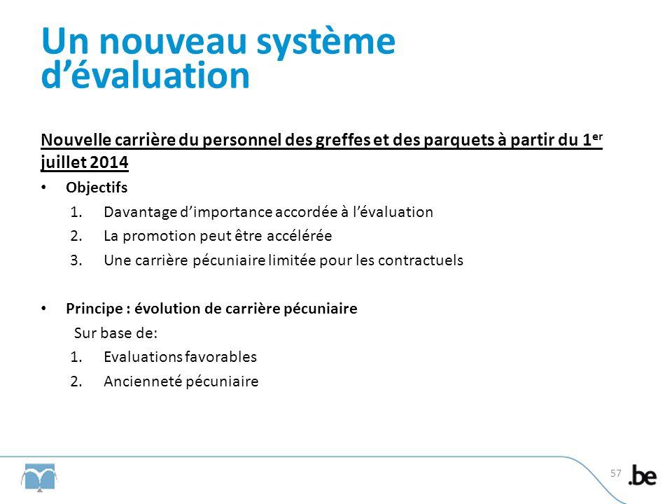 Un nouveau système dévaluation Nouvelle carrière du personnel des greffes et des parquets à partir du 1 er juillet 2014 Objectifs 1.Davantage dimporta