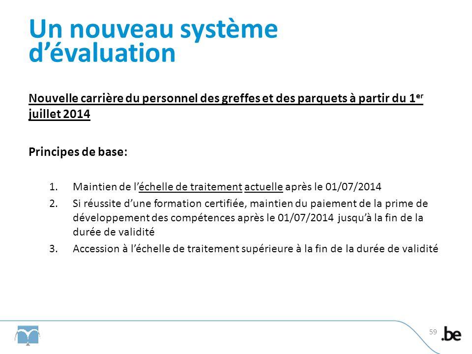 Un nouveau système dévaluation Nouvelle carrière du personnel des greffes et des parquets à partir du 1 er juillet 2014 Principes de base: 1.Maintien