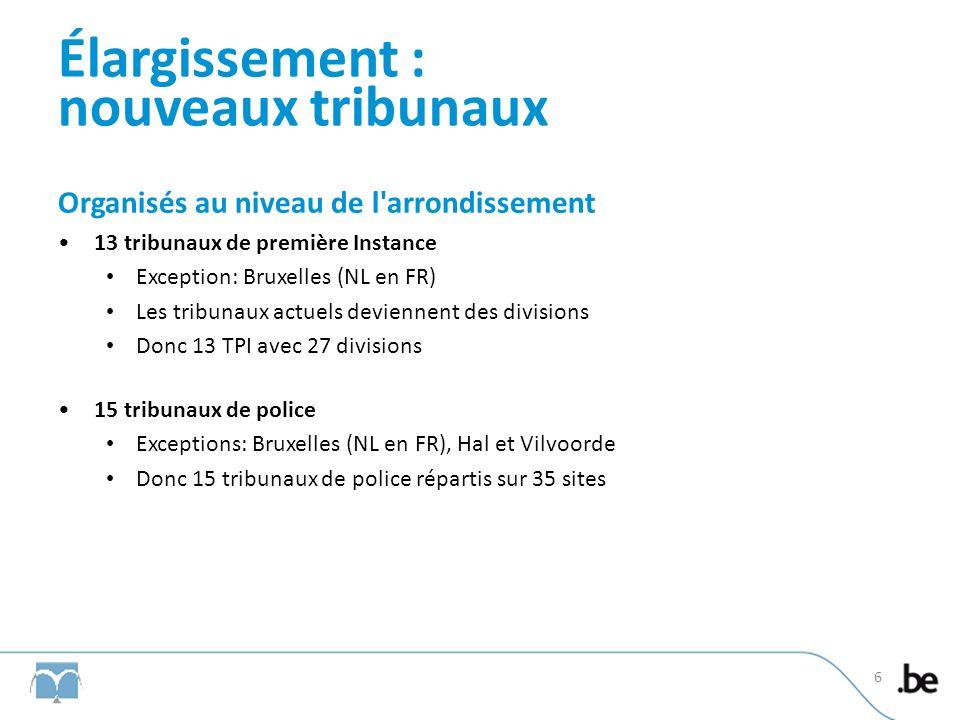 Élargissement : nouveaux tribunaux Organisés au niveau de larrondissement Justices de paix Maintien des 187 cantons actuels 14 parquets du procureur du Roi Exceptions: Bruxelles, Hal-Vilvoorde et Hainaut (Charleroi et Mons) 7