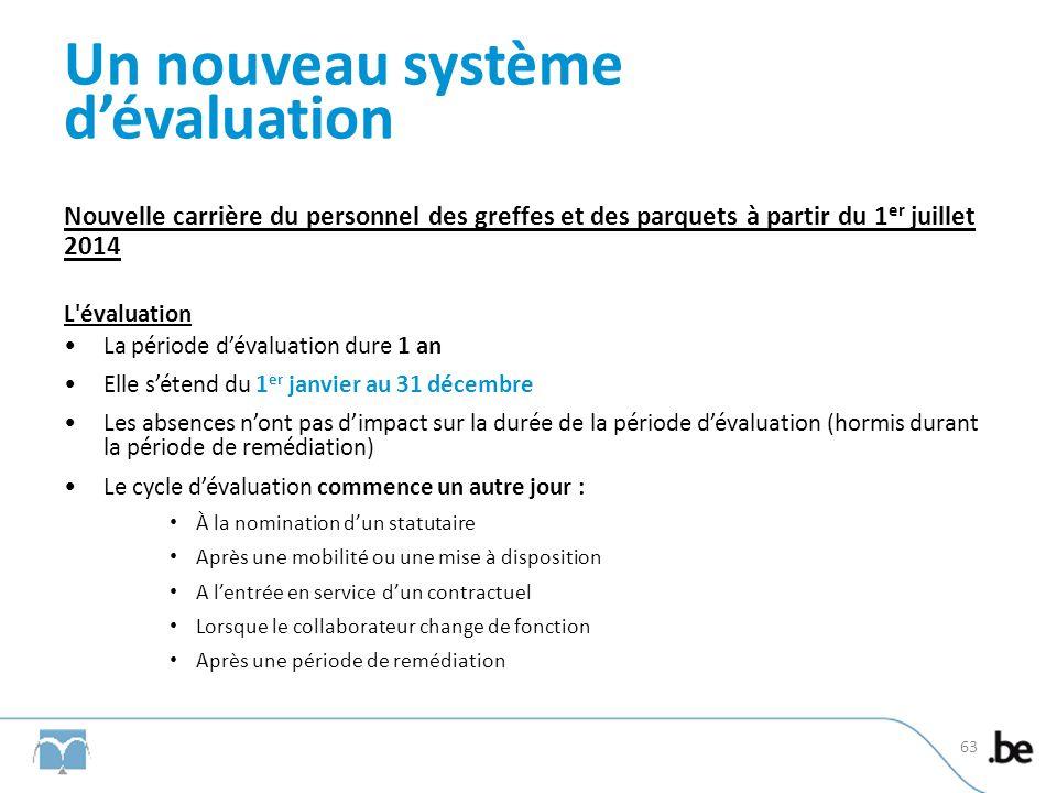 Un nouveau système dévaluation Nouvelle carrière du personnel des greffes et des parquets à partir du 1 er juillet 2014 L'évaluation La période dévalu