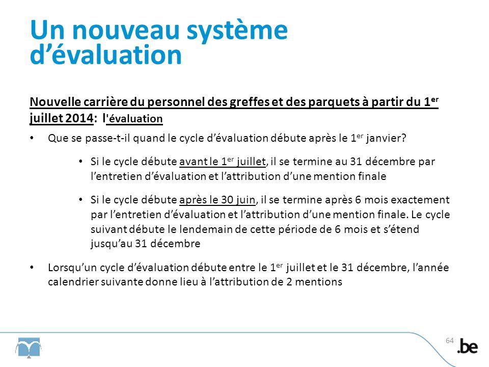 Un nouveau système dévaluation Nouvelle carrière du personnel des greffes et des parquets à partir du 1 er juillet 2014: l évaluation Que se passe-t-il quand le cycle dévaluation débute après le 1 er janvier.