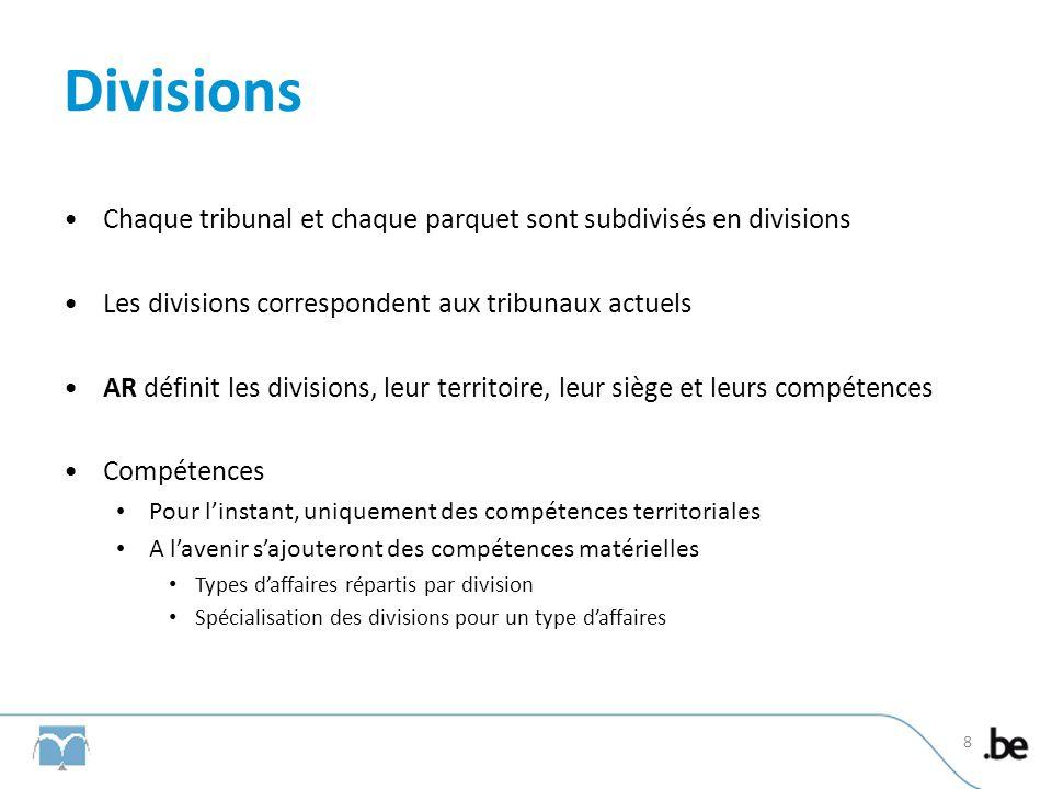 Divisions Chaque tribunal et chaque parquet sont subdivisés en divisions Les divisions correspondent aux tribunaux actuels AR définit les divisions, l