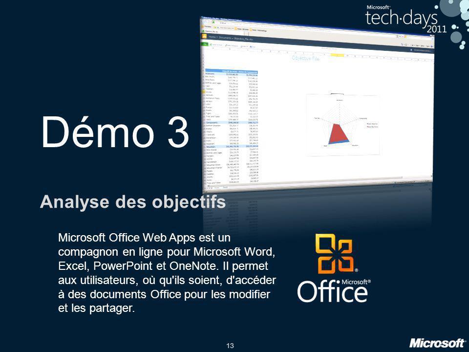 13 Démo 3 Analyse des objectifs Microsoft Office Web Apps est un compagnon en ligne pour Microsoft Word, Excel, PowerPoint et OneNote. Il permet aux u