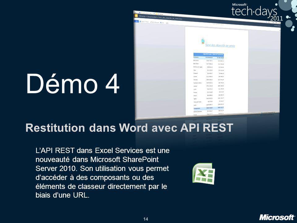14 Démo 4 Restitution dans Word avec API REST LAPI REST dans Excel Services est une nouveauté dans Microsoft SharePoint Server 2010. Son utilisation v