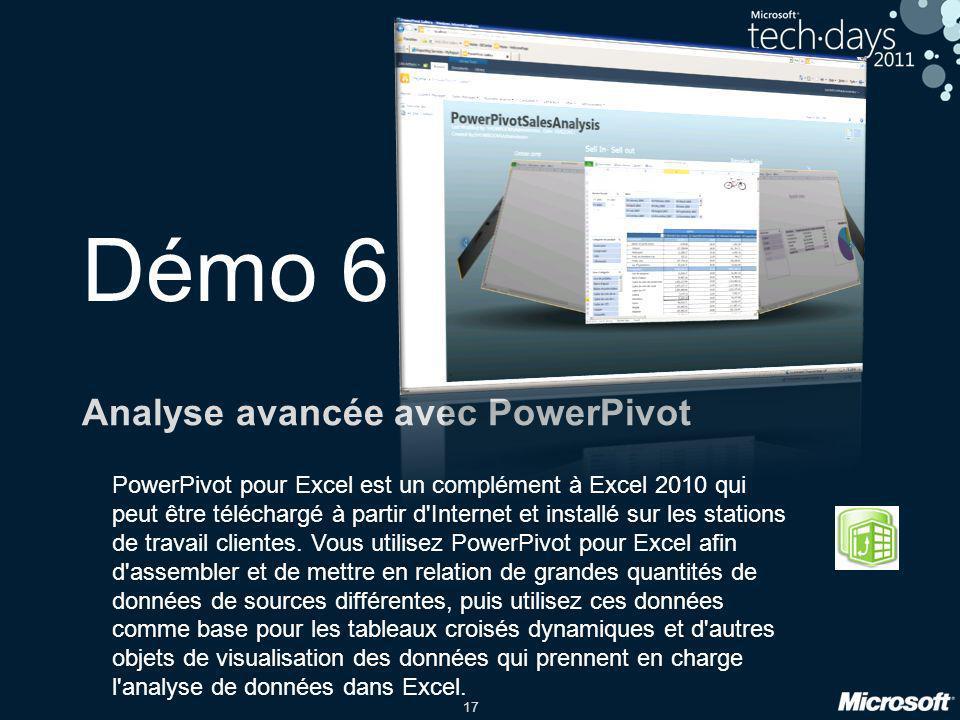 17 Démo 6 Analyse avancée avec PowerPivot PowerPivot pour Excel est un complément à Excel 2010 qui peut être téléchargé à partir d'Internet et install