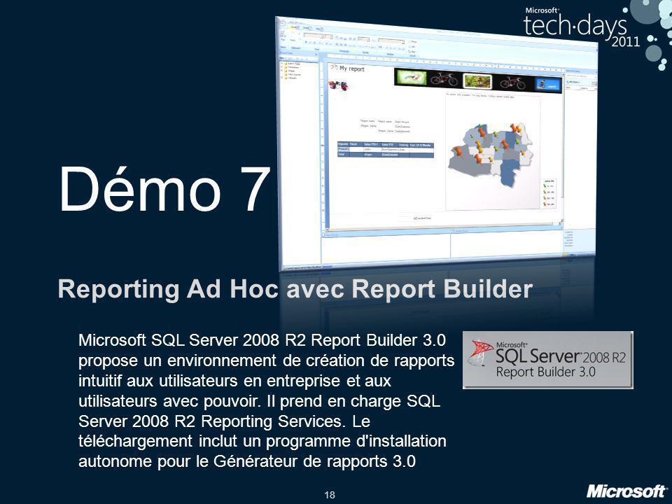 18 Démo 7 Reporting Ad Hoc avec Report Builder Microsoft SQL Server 2008 R2 Report Builder 3.0 propose un environnement de création de rapports intuit