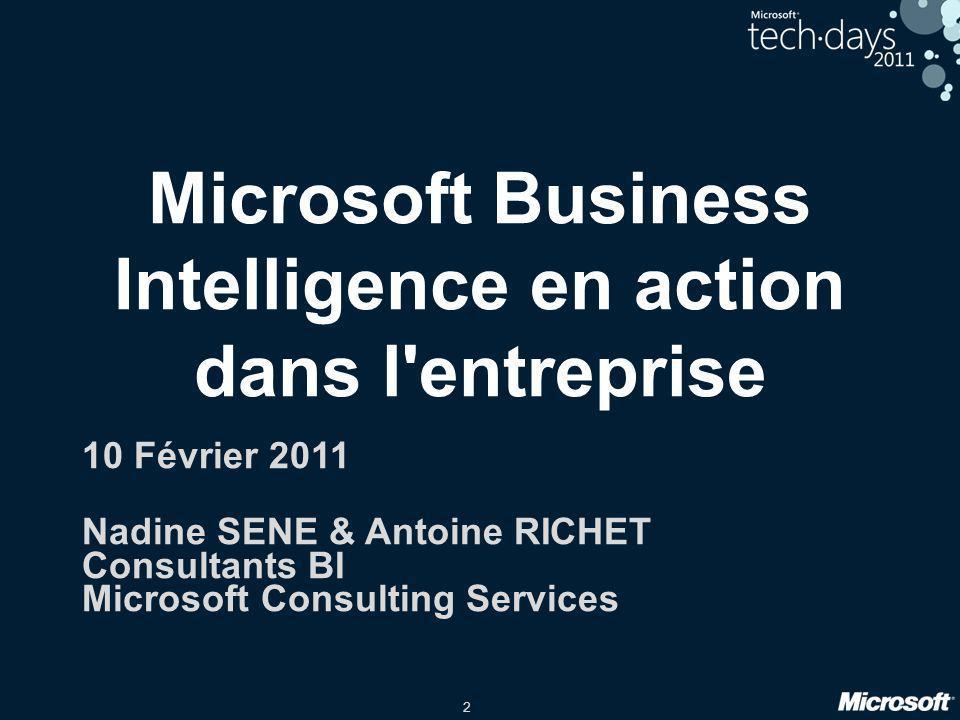 2 Microsoft Business Intelligence en action dans l'entreprise 10 Février 2011 Nadine SENE & Antoine RICHET Consultants BI Microsoft Consulting Service