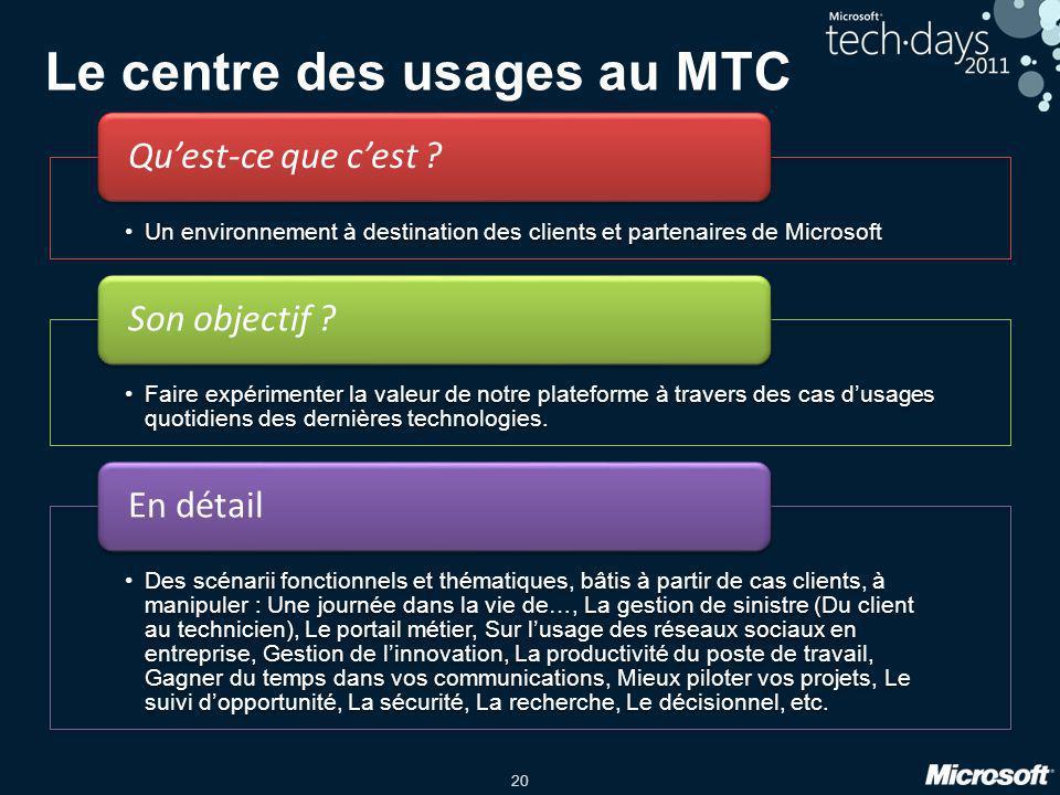 20 Le centre des usages au MTC Un environnement à destination des clients et partenaires de Microsoft Quest-ce que cest ? Faire expérimenter la valeur
