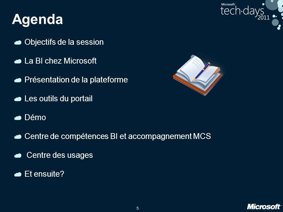 5 Agenda Objectifs de la session La BI chez Microsoft Présentation de la plateforme Les outils du portail Démo Centre de compétences BI et accompagnem
