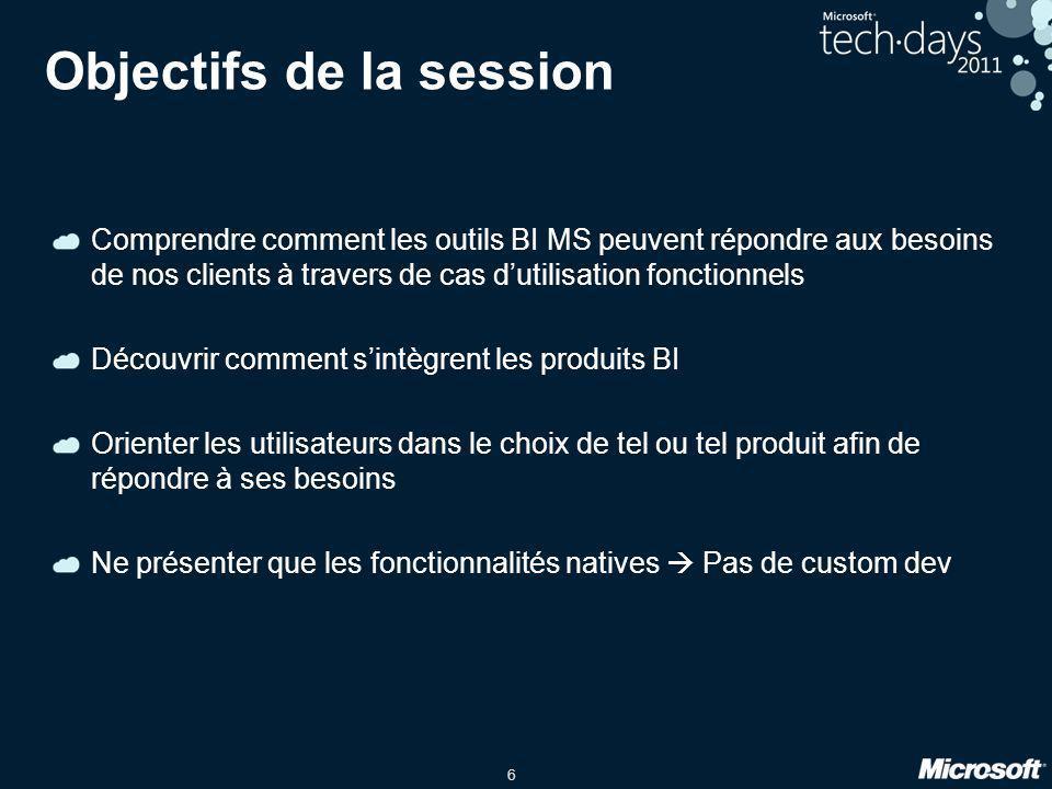 6 Objectifs de la session Comprendre comment les outils BI MS peuvent répondre aux besoins de nos clients à travers de cas dutilisation fonctionnels D