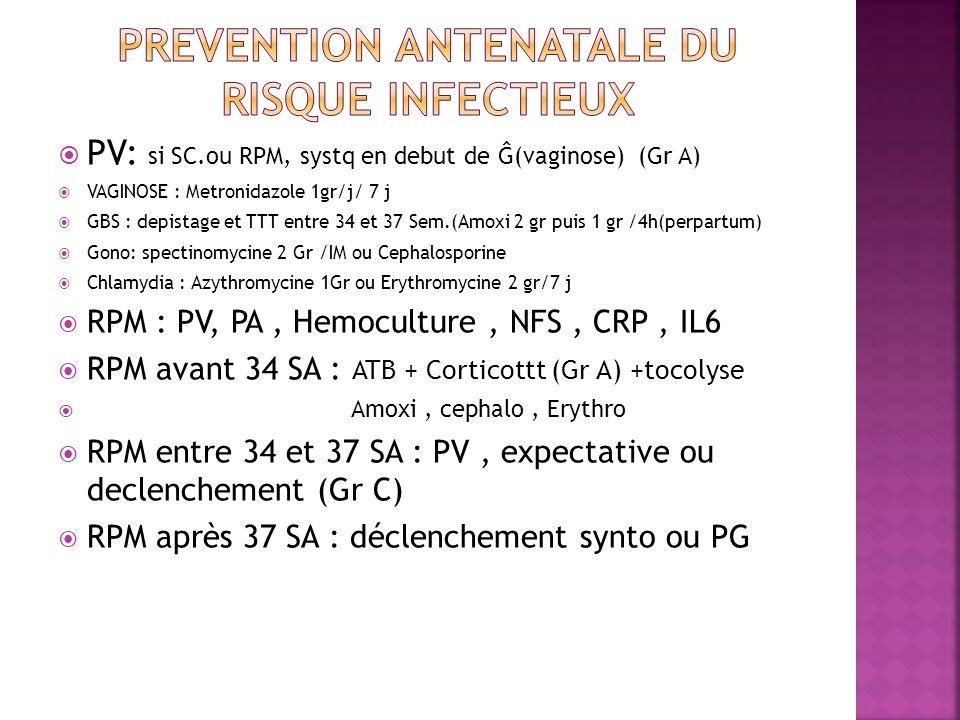 PV: si SC.ou RPM, systq en debut de Ĝ(vaginose) (Gr A) VAGINOSE : Metronidazole 1gr/j/ 7 j GBS : depistage et TTT entre 34 et 37 Sem.(Amoxi 2 gr puis