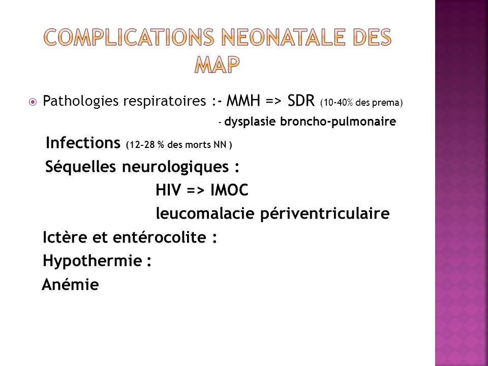 Pathologies respiratoires :- MMH => SDR (10-40% des prema) - dysplasie broncho-pulmonaire Infections (12-28 % des morts NN ) Séquelles neurologiques :
