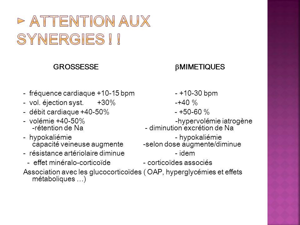 GROSSESSE MIMETIQUES - fréquence cardiaque +10-15 bpm - +10-30 bpm - vol. éjection syst. +30% -+40 % - débit cardiaque +40-50% - +50-60 % - volémie +4