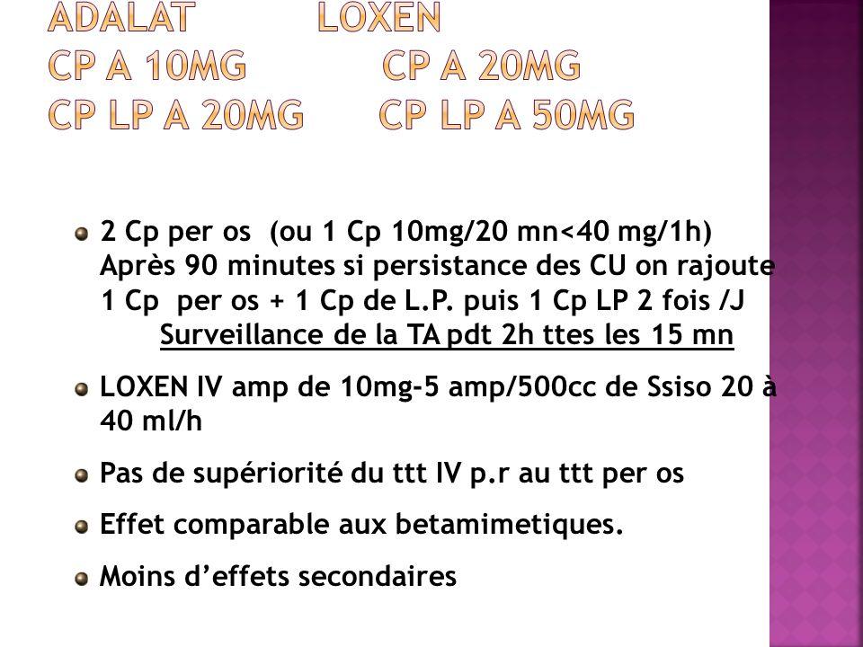 2 Cp per os (ou 1 Cp 10mg/20 mn<40 mg/1h) Après 90 minutes si persistance des CU on rajoute 1 Cp per os + 1 Cp de L.P. puis 1 Cp LP 2 fois /J Surveill