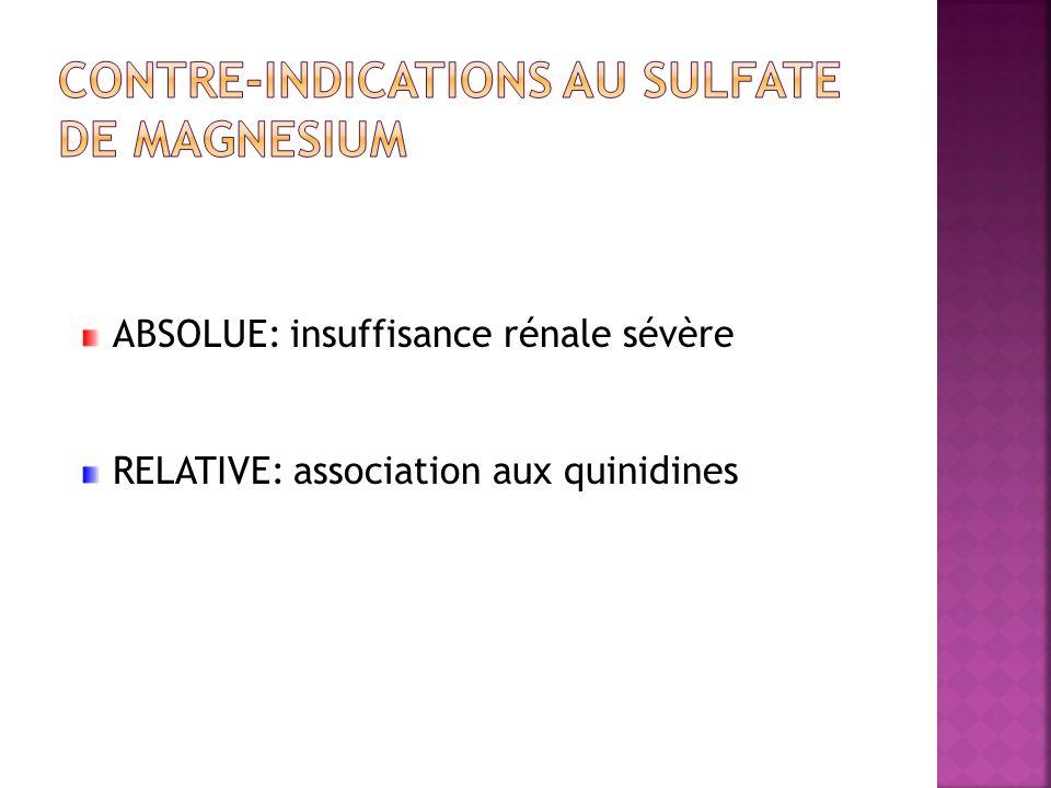 ABSOLUE: insuffisance rénale sévère RELATIVE: association aux quinidines