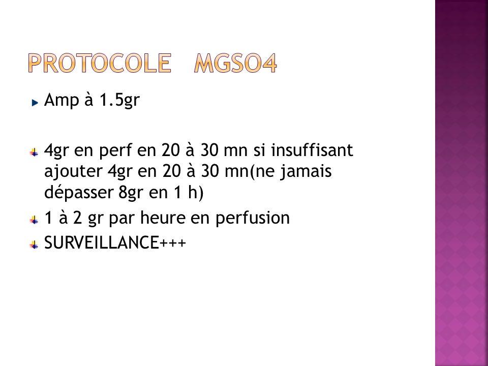 Amp à 1.5gr 4gr en perf en 20 à 30 mn si insuffisant ajouter 4gr en 20 à 30 mn(ne jamais dépasser 8gr en 1 h) 1 à 2 gr par heure en perfusion SURVEILL
