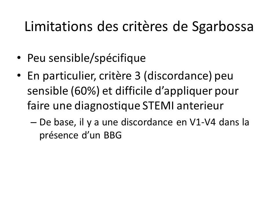 Limitations des critères de Sgarbossa Peu sensible/spécifique En particulier, critère 3 (discordance) peu sensible (60%) et difficile dappliquer pour