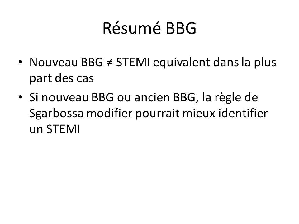 Résumé BBG Nouveau BBG STEMI equivalent dans la plus part des cas Si nouveau BBG ou ancien BBG, la règle de Sgarbossa modifier pourrait mieux identifi