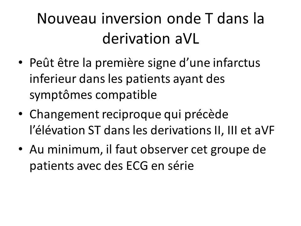 Nouveau inversion onde T dans la derivation aVL Peût être la première signe dune infarctus inferieur dans les patients ayant des symptômes compatible