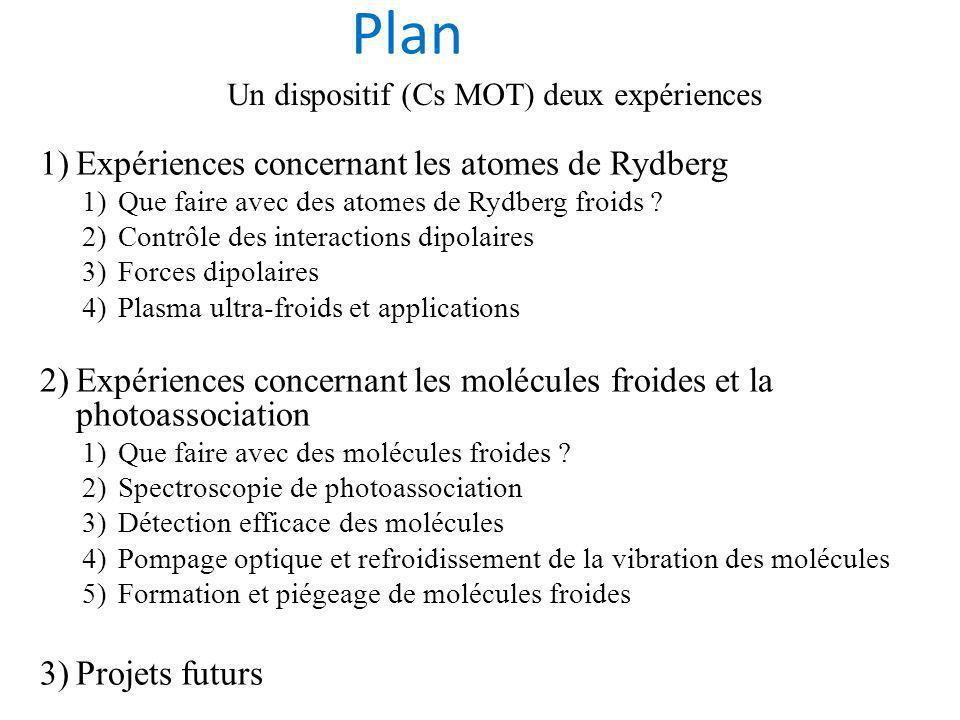 1)Expériences concernant les atomes de Rydberg 1)Que faire avec des atomes de Rydberg froids .