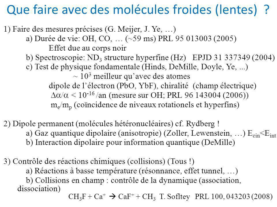 Que faire avec des molécules froides (lentes) .1) Faire des mesures précises (G.