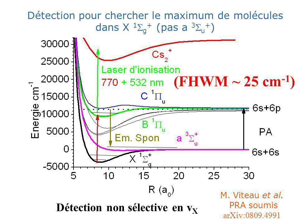 Détection non sélective en v X (FHWM ~ 25 cm -1 ) Détection pour chercher le maximum de molécules dans X 1 g + (pas a 3 u + ) M.
