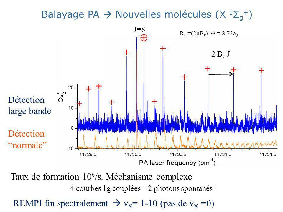 Détection large bande Détection normale Balayage PA Nouvelles molécules (X 1 Σ g + ) J=8 2 B v J R e =(2μB v ) 1/2 = 8.73a 0 Taux de formation 10 6 /s.