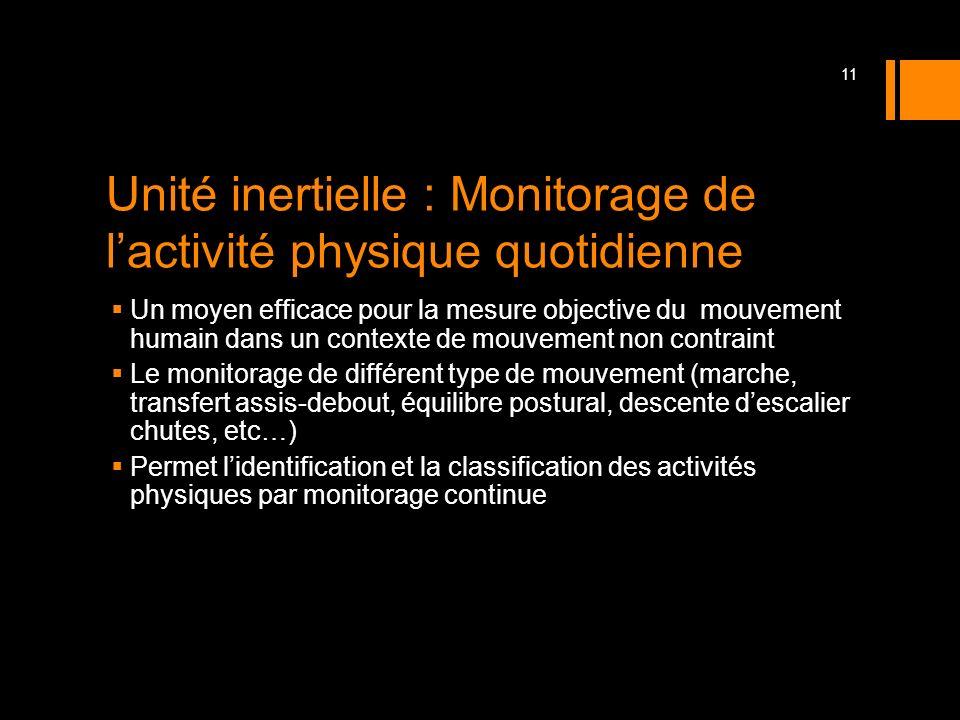 Unité inertielle : Monitorage de lactivité physique quotidienne Un moyen efficace pour la mesure objective du mouvement humain dans un contexte de mou