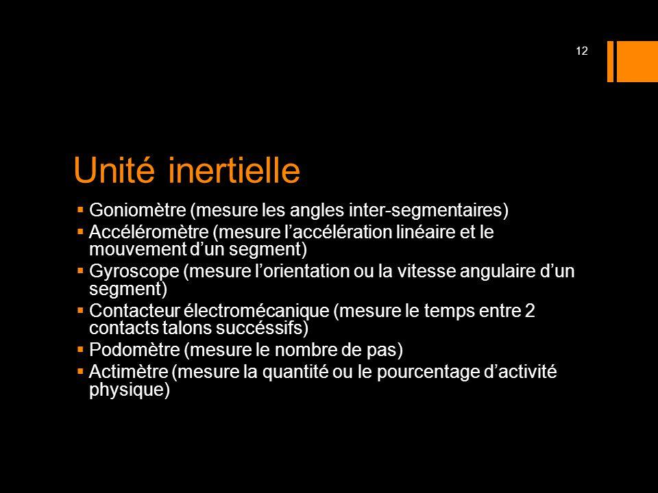 Unité inertielle Goniomètre (mesure les angles inter-segmentaires) Accéléromètre (mesure laccélération linéaire et le mouvement dun segment) Gyroscope