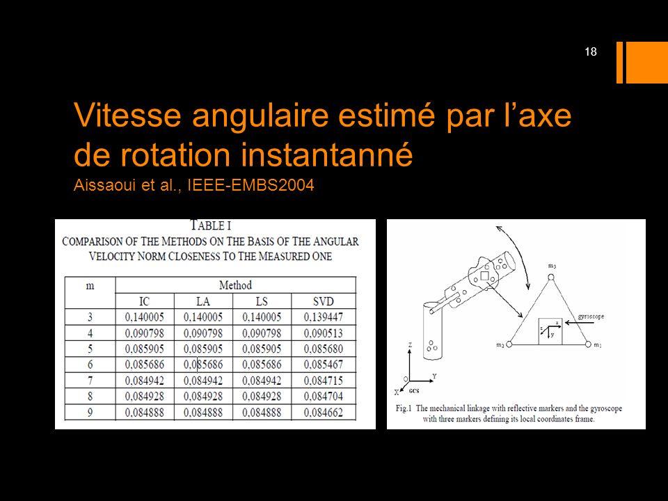 Vitesse angulaire estimé par laxe de rotation instantanné Aissaoui et al., IEEE-EMBS2004 18