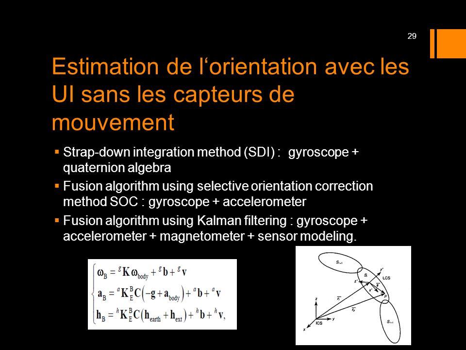 Estimation de lorientation avec les UI sans les capteurs de mouvement Strap-down integration method (SDI) : gyroscope + quaternion algebra Fusion algo