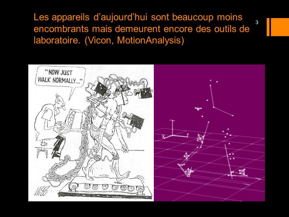 Les appareils daujourdhui sont beaucoup moins encombrants mais demeurent encore des outils de laboratoire. (Vicon, MotionAnalysis) 3