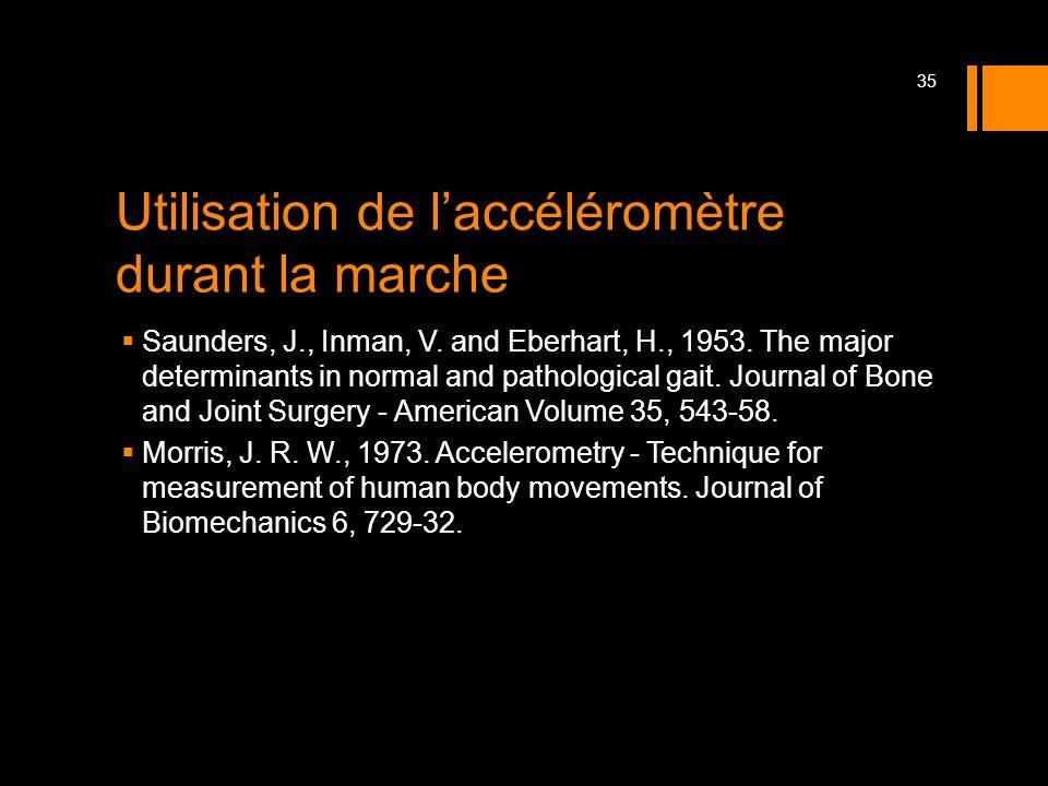 Utilisation de laccéléromètre durant la marche Saunders, J., Inman, V. and Eberhart, H., 1953. The major determinants in normal and pathological gait.