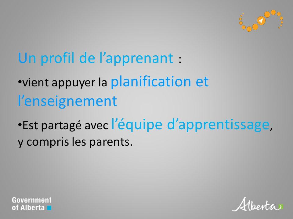 Un profil de lapprenant : vient appuyer la planification et lenseignement Est partagé avec léquipe dapprentissage, y compris les parents.