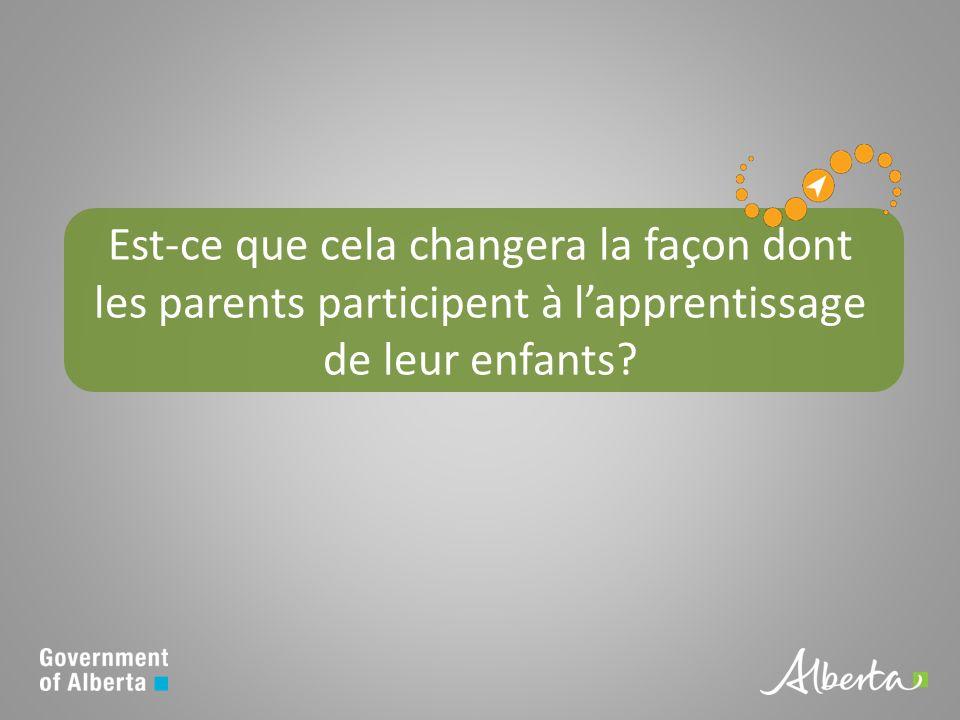 Est-ce que cela changera la façon dont les parents participent à lapprentissage de leur enfants