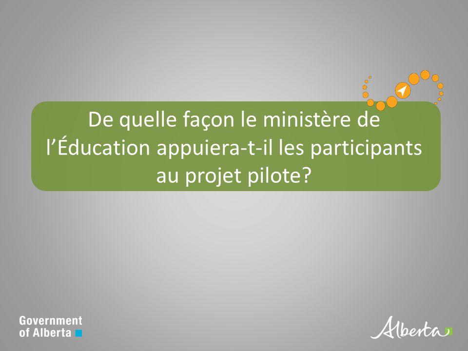 De quelle façon le ministère de lÉducation appuiera-t-il les participants au projet pilote