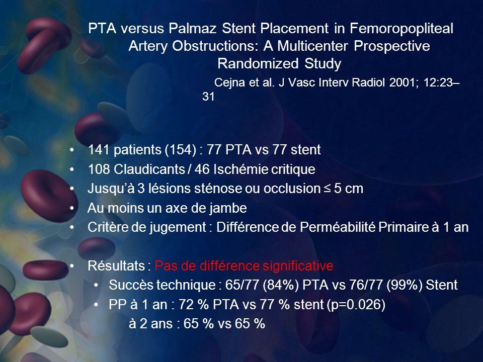 PTA versus Palmaz Stent Placement in Femoropopliteal Artery Obstructions: A Multicenter Prospective Randomized Study Cejna et al. J Vasc Interv Radiol