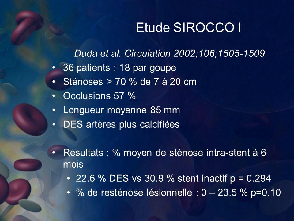 Etude SIROCCO I Duda et al. Circulation 2002;106;1505-1509 36 patients : 18 par goupe Sténoses > 70 % de 7 à 20 cm Occlusions 57 % Longueur moyenne 85
