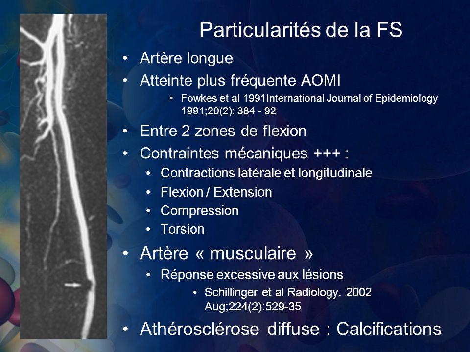 Particularités de la FS Artère longue Atteinte plus fréquente AOMI Fowkes et al 1991International Journal of Epidemiology 1991;20(2): 384 - 92 Entre 2