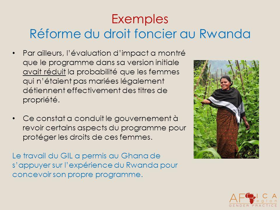 Exemples Réforme du droit foncier au Rwanda Par ailleurs, lévaluation dimpact a montré que le programme dans sa version initiale avait réduit la probabilité que les femmes qui nétaient pas mariées légalement détiennent effectivement des titres de propriété.