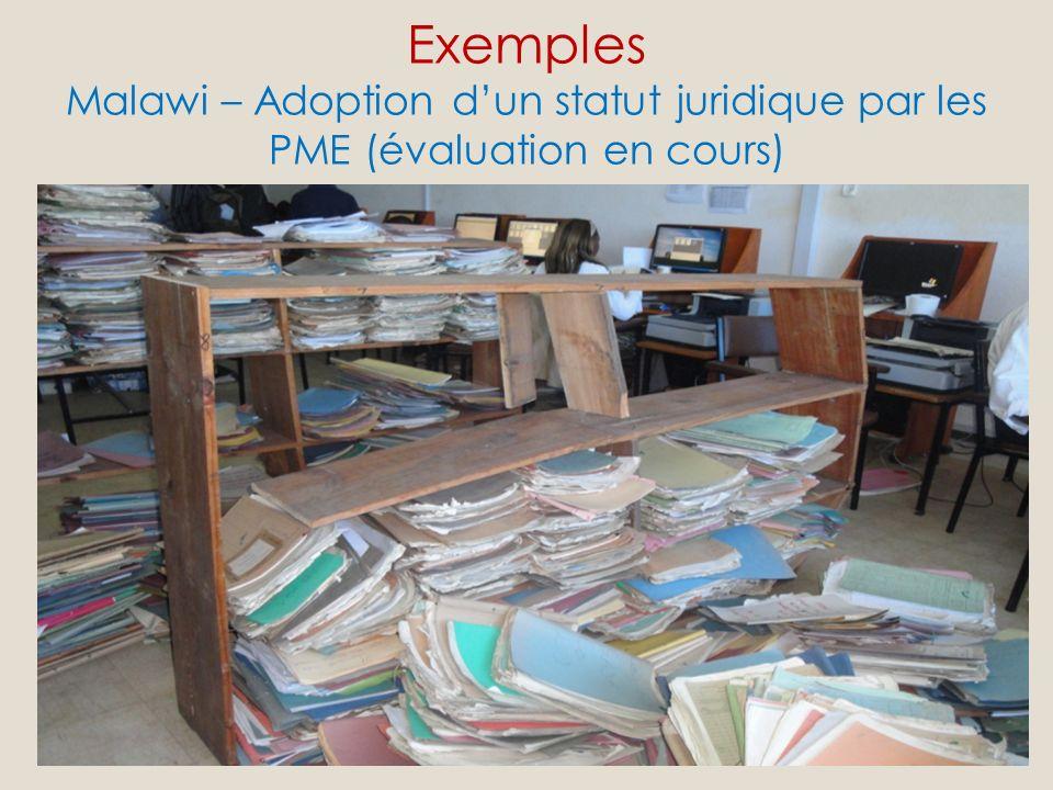 Exemples Malawi – Adoption dun statut juridique par les PME (évaluation en cours) Pourquoi ce programme et ce projet de recherche.
